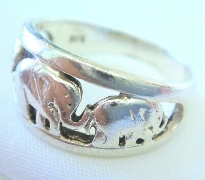 .925 Sterling Silver Elephant Ring, Size 9   -   SHIPS FREE