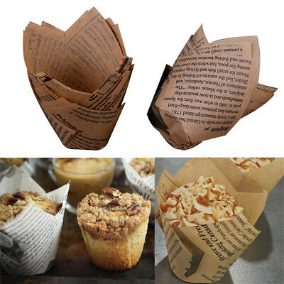 50X Cupcake Wrapper Paper Cake Liner Muffin Baking Cups Weeding Party Dessert