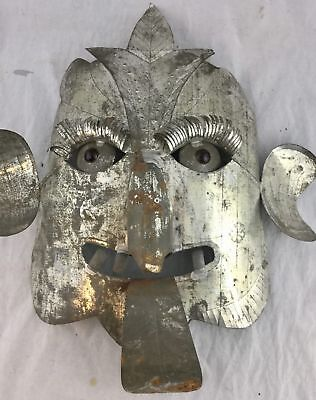 Vintage Mexican Folk Art Punched Etched Tin Scrap Metal Mask Marble Eyes