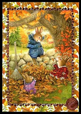 Thanksgiving SUSAN WHEELER Bunny Rabbits Leaves - Holly Pond Hill Greeting Card
