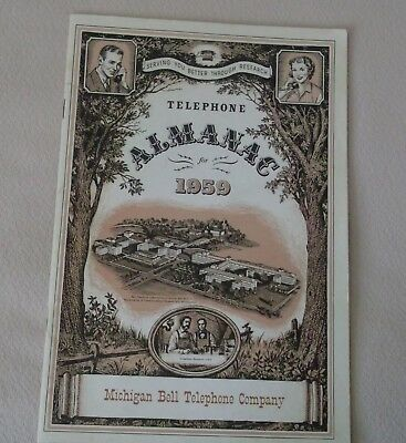1959 Telephone Almanac From Michigan Bell Telephone Company