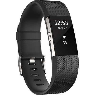 NEW Fitbit Charge 2 Fitness Activity Tracker + Heart Rate Size L - Black