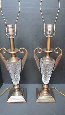 Pair of Large Hollywood Regency Brass & Crystal Table Lamps Winged side Handles