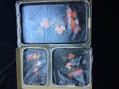 Vintage 3 Piece Lacquer Ware Serving Tray Set In Original Box - Japan - 1970s