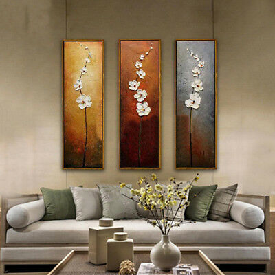 3Pcs Colorful Flower Unframed Canvas Abstract Painting for Home-Decor Hot-sale