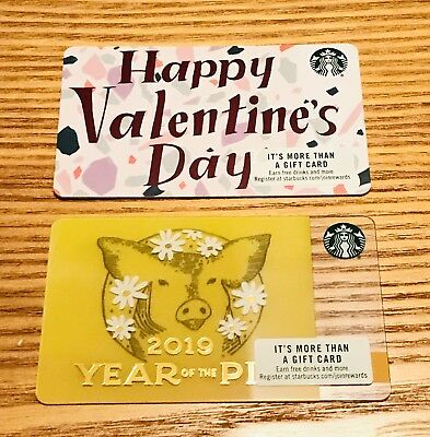 2 Starbucks Card 2019 Year Of The Pig Happy Valentines Day Set New #6162