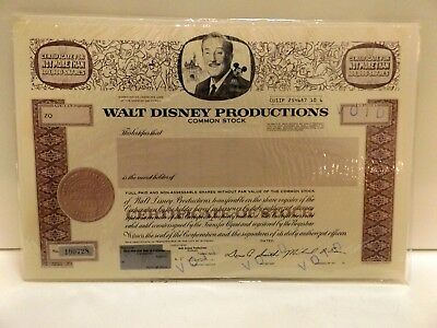 Walt Disney Productions, Unissued, Voided Stock Certificate