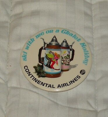 Continental Airlines Pinback Button Ski With Me On A Chalet Holiday Ski With Me