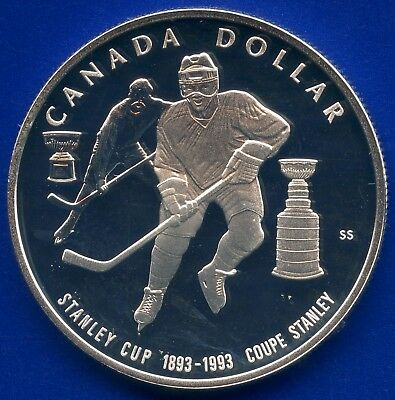 1993 Canada Proof Silver Dollar (Stanley Cup 100th ) 25.175 Grams .925