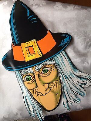 Beistle Vintage Halloween Decoration Witch 1980s Paper Cut Out Die Cut 2 Sided