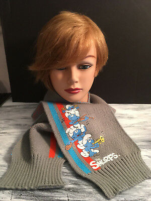 Kid's Unisex SMURFS KNIT SCARF ~ Gray ~ Very Cute. Pre-owned