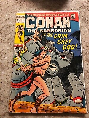 MARVEL COMIC Conan the Barbarian #3 (Feb 1971l) Cover damage/ripped