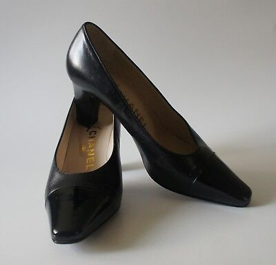 8e7ccab44c88 CHANEL BLACK SUEDE Leather Patent Cap Toe Platform Pumps SZ41 ...
