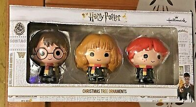 Hallmark Harry Potter Hermione Ron Boxed Set of 3 Christmas Ornaments NEW