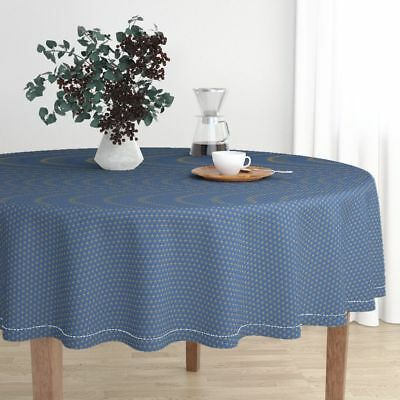 Round Tablecloth Ancient Egypt Stars Gold Blue Egyptian Gold Star Cotton Sateen