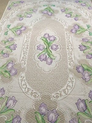 """Lace Tulip Tablecloth. 62""""x96"""". Rectangular. White W/ Lilac & Green. Gorgeous!"""