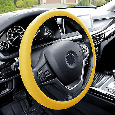 Silicone Steering wheel cover Python Snake Skin Design Yellow for Auto