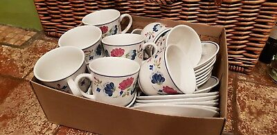14 Bhs Priory Tea Or Coffee Cups & Saucers