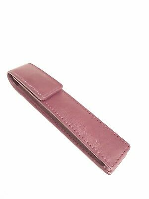 Burgundy Single Leather Magnetic Pen Case/Pouch Real Leather Hand Made