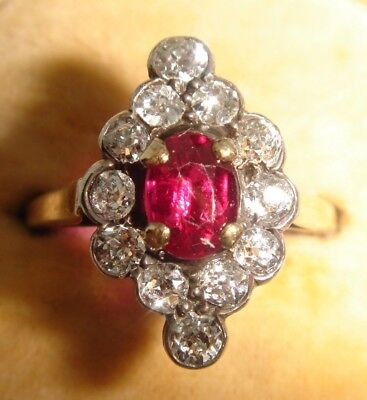 A Striking Art Deco Solid 18ct Gold Ruby & Diamond Ring
