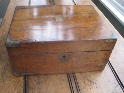 Vintage Wooden Writing Slope With Brass Corners and Escutcheon*
