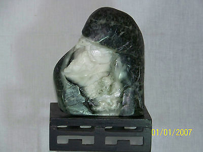 "Chinese Natural Dushan Jade Sculpture ""Mountain"" Hand Carved Statue 39oz"