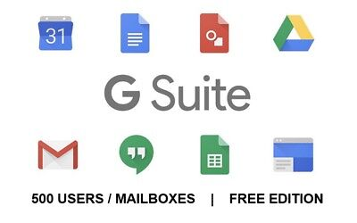 Google Apps G-Suite account free / Standard Edition (500 users/mailboxes) SaaS