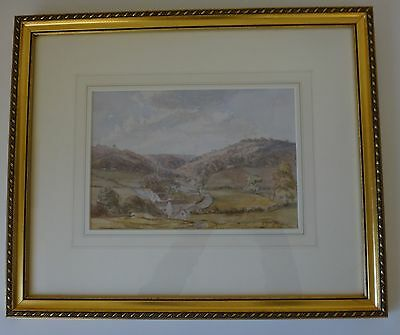 Antique Watercolour of Wye Valley mid 19th century original UK / Welsh Landscape