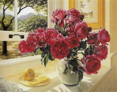 NEW ROMANTIC MORNING ROSES NEEDLEPOINT TAPESTRY canvas to stitch! FREE POST