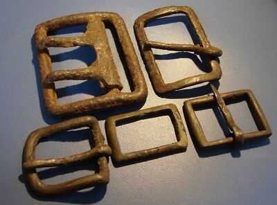 Ancient big fragments of clasps of clothing. Bronze. Iron. Original.