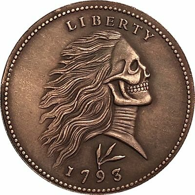 COPPER CENT Hobo Nickel 1793 Long Hair Skull Zombie COIN USA