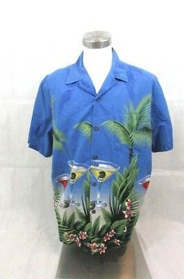 Vintage RJC Hawaiian Shirt Men's XL Short Sleeve Floral Martinis Cocktails