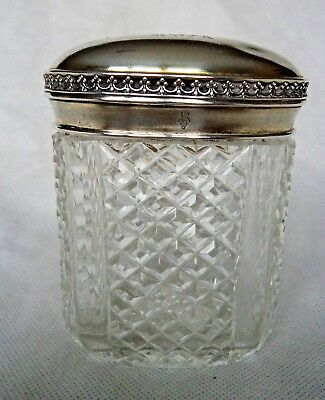 Large Antique Victorian 1879 Sterling / Solid Silver Dressing Table Jar / Box