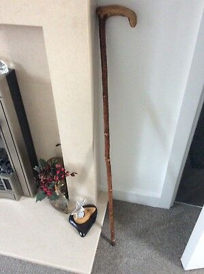 Blackthorn walking stick 35 inches with fitted copper ferrule and J initialled o