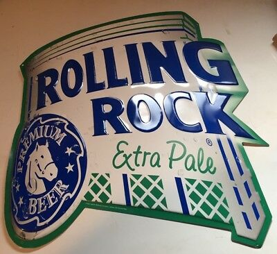 "2002 Rolling Rock Extra Pale Embossed Metal Beer Sign Die Cut 19"" x 24"""