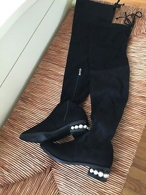 45a8b9b9305 Catherine Malandrino Pasta Pearl Over The Knee Black Boots Size 6 Retail    160