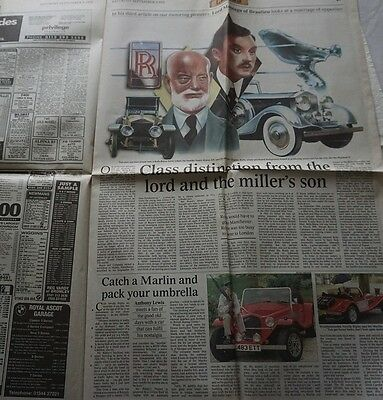 Times Newspaper Motoring Supplement Marlin Lord Montagu on Rolls Royce Founders