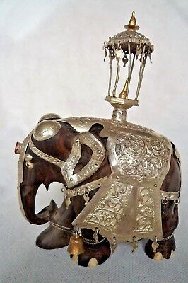 19Th Century Antique Indian Silver & Hardwood Caparison Elephant Figure