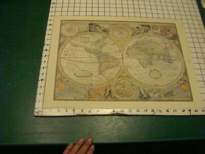 vintage but repro map A NEW AND ACCVRAT MAP OF THE WORLD hammond 21 x 16""