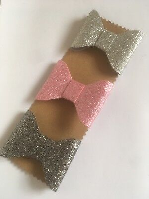 UK Seller Girls Handmade 3pk Baby/toddler Hair Bow Clips Glitter Silver Pink