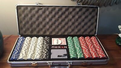 Poker Chip Set 500 Clay Aluminum Case Pro Casino Chips Texas Holdem Cards Dice