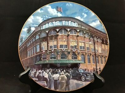 "Vintage Ebbets Field ""Home of the Dodgers"" Collectors Plate 22-K Gold Trim"