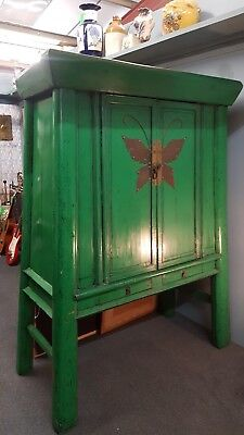 Antique Chinese Green  Wedding Chest Cupboard Armoire Gold Decorations