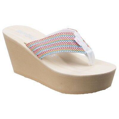 2a05de0752ef Rocket Dog Womens Ladies Diver Groovy Stripe Wedge Sandals (FS5326)