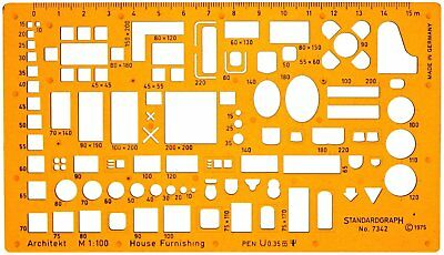 1:100 Scale Architectural Drawing Template Stencil Furniture for House Interior
