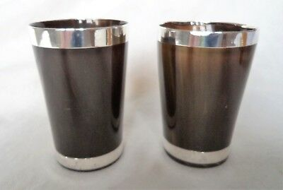 PAIR ANTIQUE SCOTTSH VICTORIAN c1900 SOLID SILVER & HORN CUPS / BEAKERS
