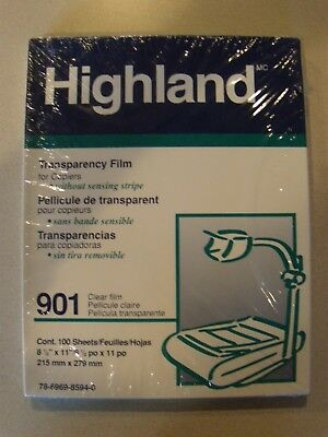 Highland 901 Clear transparency film for copies 100 sheets new in box