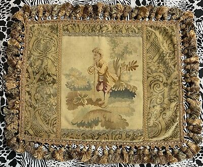ANTIQUE 19th C AUBUSSON FRENCH HAND WOVEN TAPESTRY CUSHIONS 18 X 24 inches