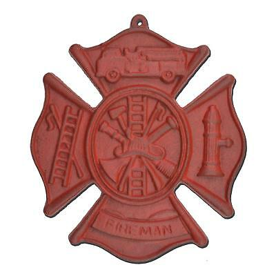 "Firefighting Firemans Cross Hanging Wall Plaque Red Cast Iron Maltese 7.75"" W"