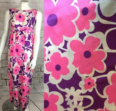 Vintage 60s 70s Flower Power Floral Empire Waist Maxi Dress XS/S Hawaiian Bright